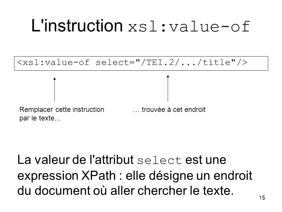L instruction xsl:value-of
