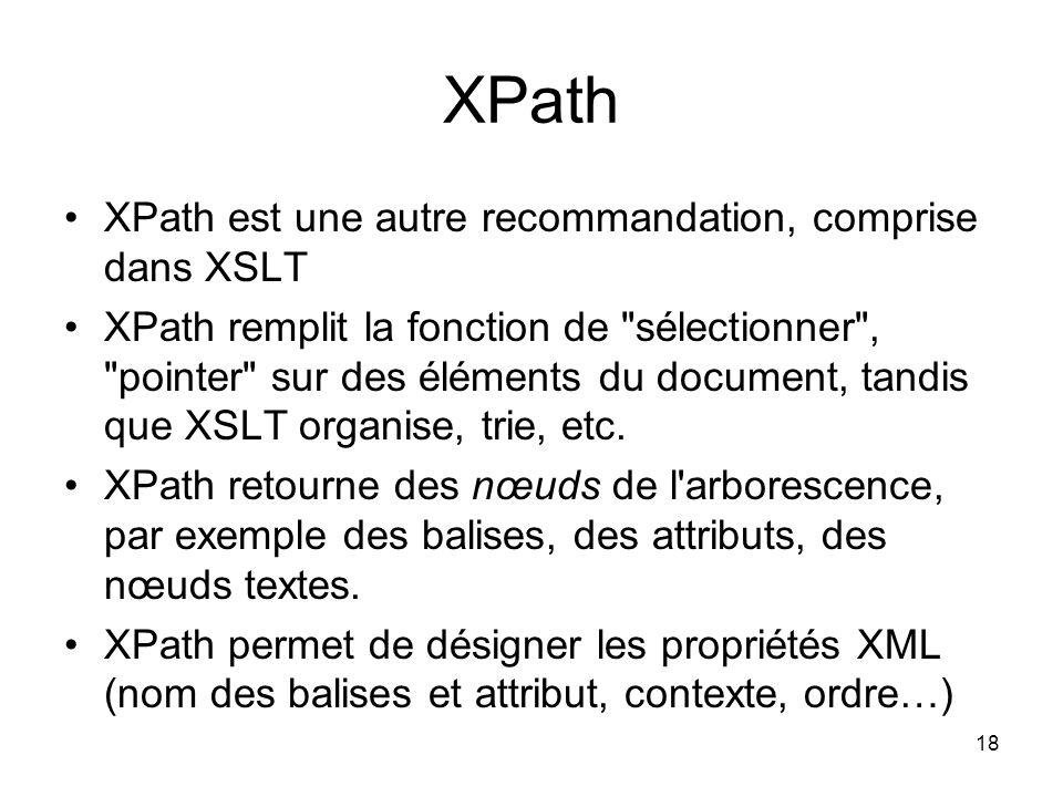 XPath XPath est une autre recommandation, comprise dans XSLT