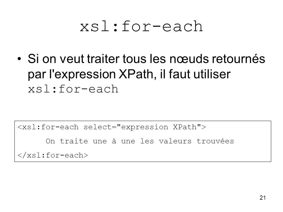 xsl:for-each Si on veut traiter tous les nœuds retournés par l expression XPath, il faut utiliser xsl:for-each.