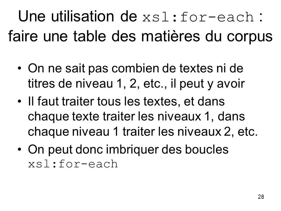 Une utilisation de xsl:for-each : faire une table des matières du corpus