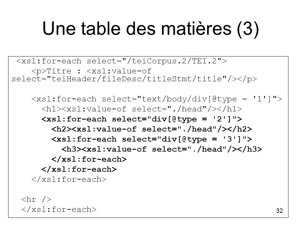 Une table des matières (3)