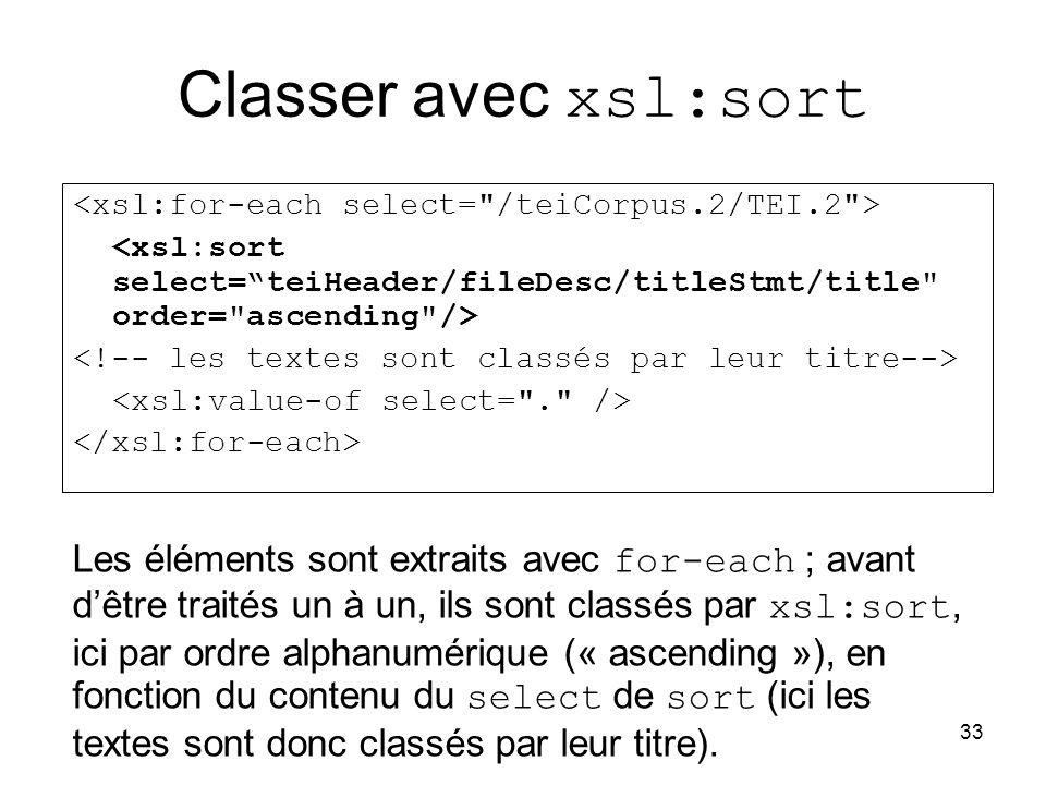 Classer avec xsl:sort <xsl:for-each select= /teiCorpus.2/TEI.2 > <xsl:sort select= teiHeader/fileDesc/titleStmt/title order= ascending />