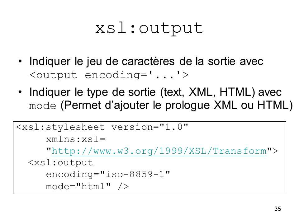 xsl:output Indiquer le jeu de caractères de la sortie avec <output encoding= ... >