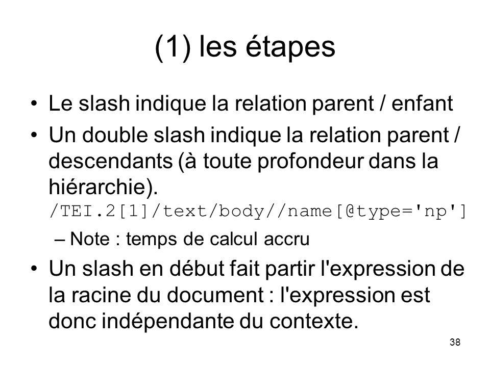(1) les étapes Le slash indique la relation parent / enfant
