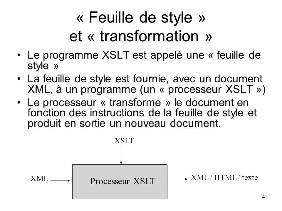 « Feuille de style » et « transformation »