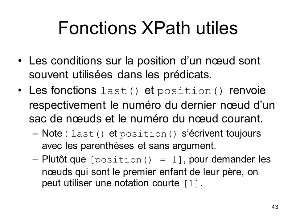 Fonctions XPath utiles