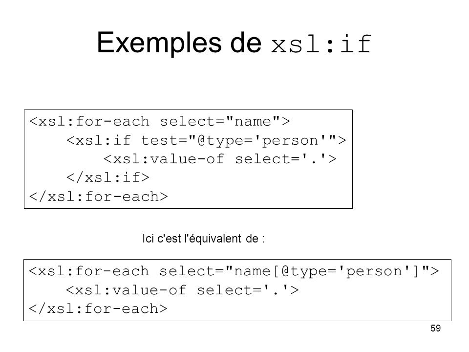 Exemples de xsl:if <xsl:for-each select= name >