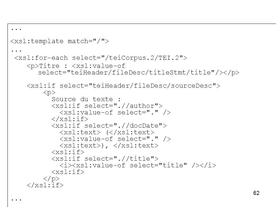 ... <xsl:template match= / > <xsl:for-each select= /teiCorpus.2/TEI.2 > <p>Titre : <xsl:value-of select= teiHeader/fileDesc/titleStmt/title /></p>