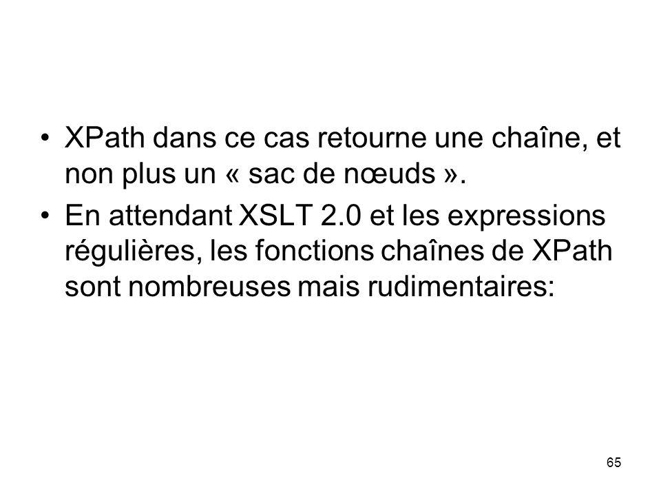 XPath dans ce cas retourne une chaîne, et non plus un « sac de nœuds ».