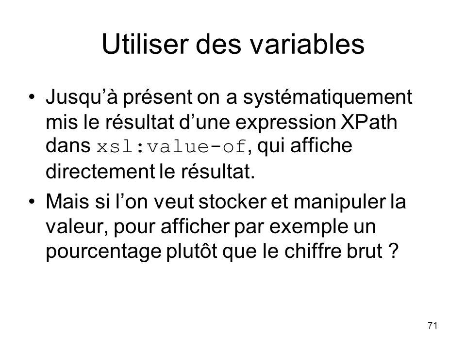 Utiliser des variables