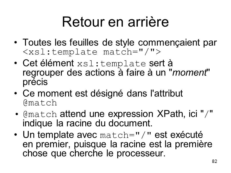 Retour en arrière Toutes les feuilles de style commençaient par <xsl:template match= / >