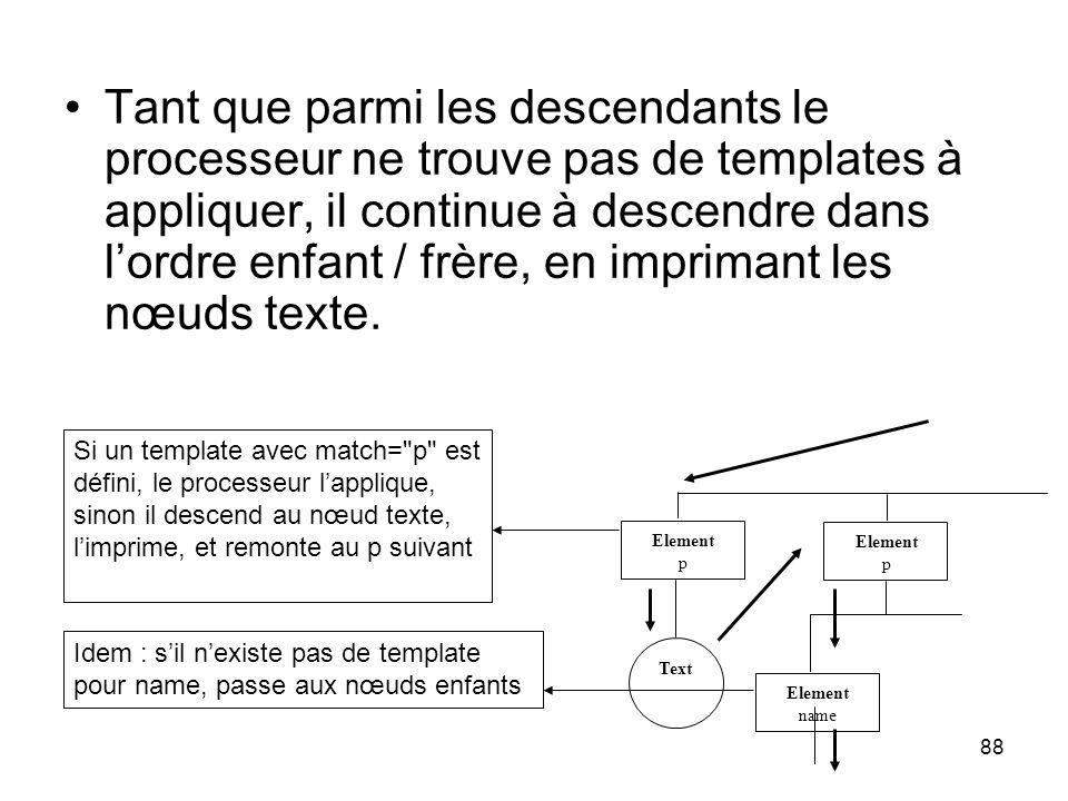 Tant que parmi les descendants le processeur ne trouve pas de templates à appliquer, il continue à descendre dans l'ordre enfant / frère, en imprimant les nœuds texte.