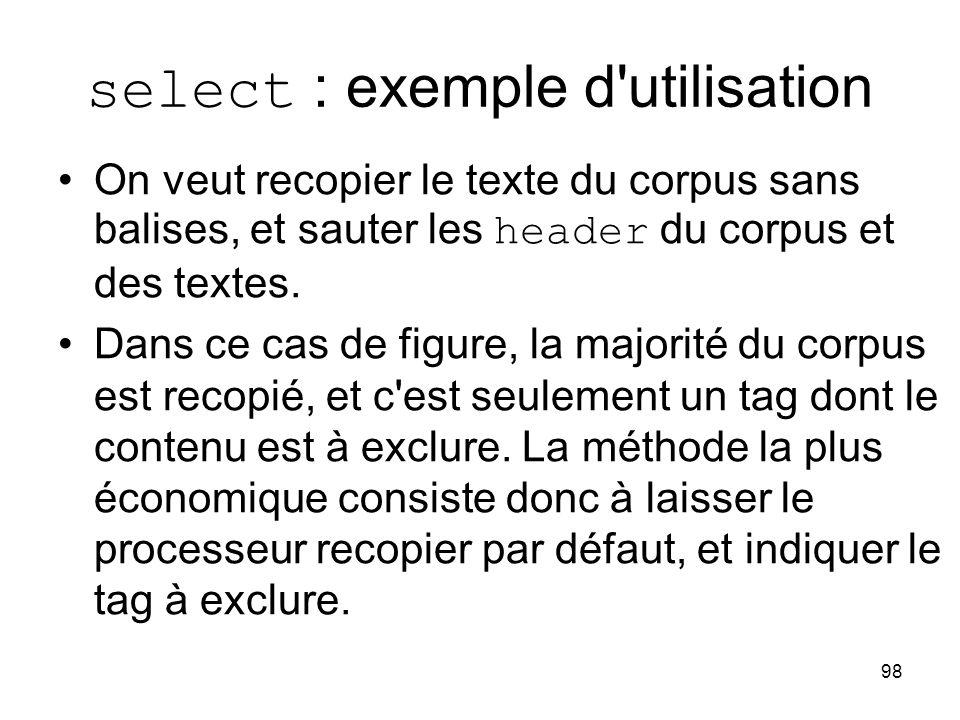 select : exemple d utilisation