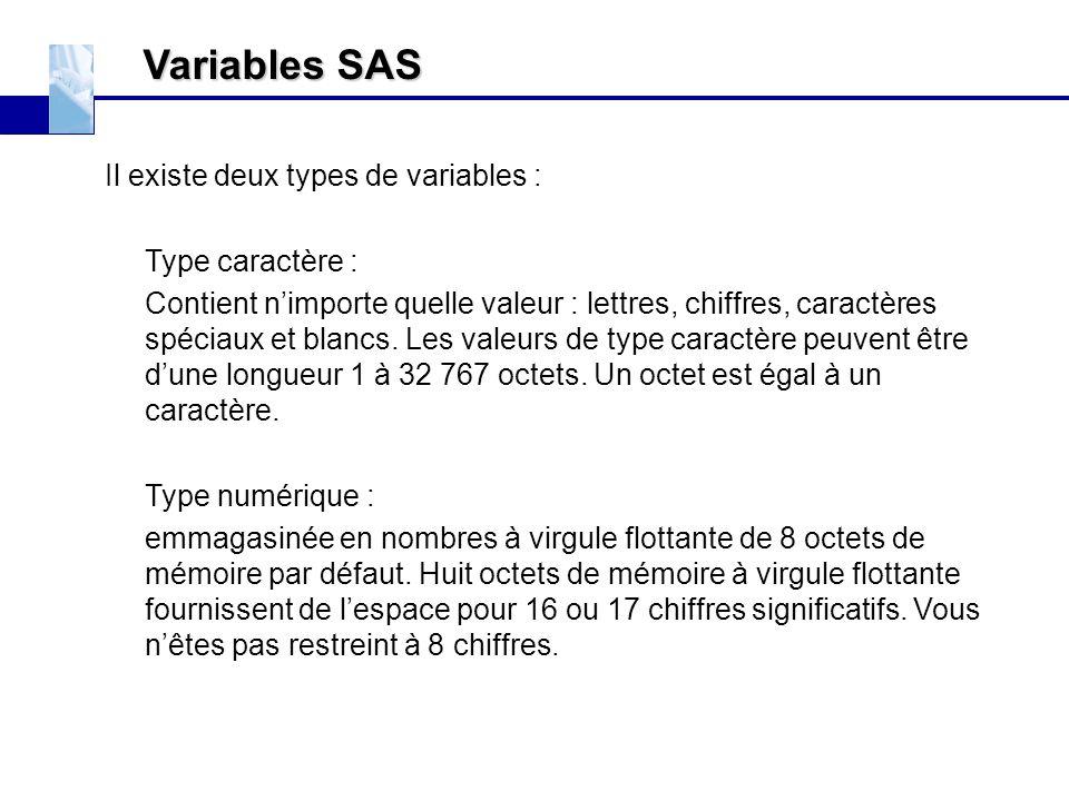 Variables SAS Il existe deux types de variables : Type caractère :