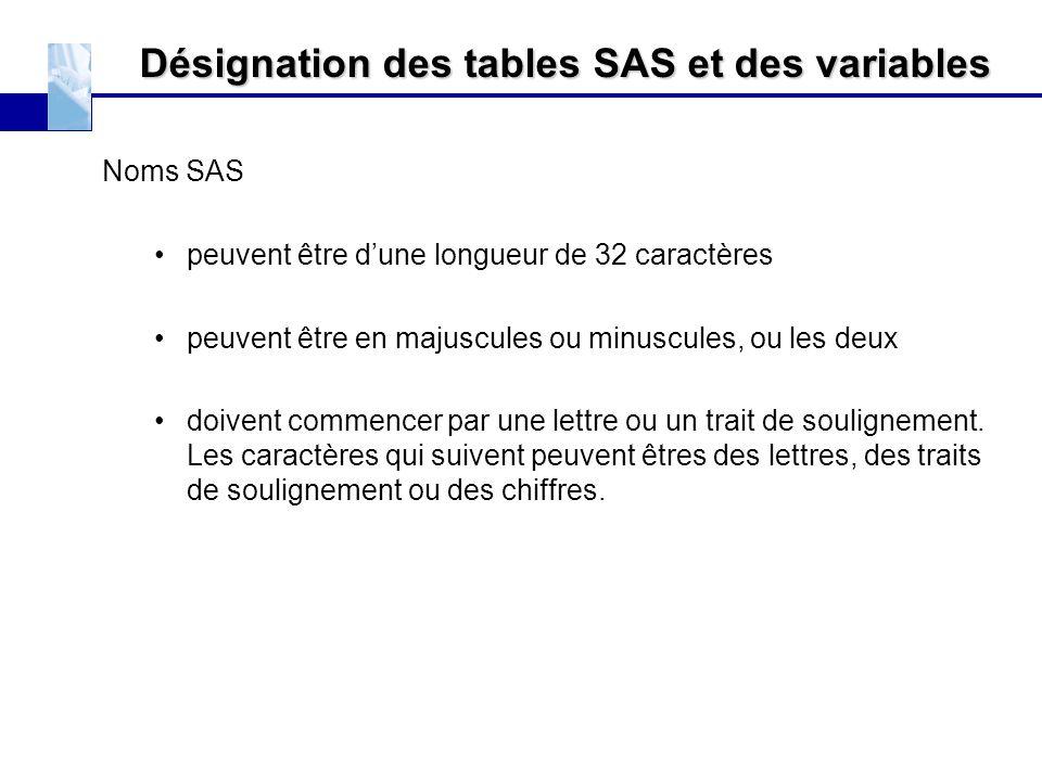 Désignation des tables SAS et des variables
