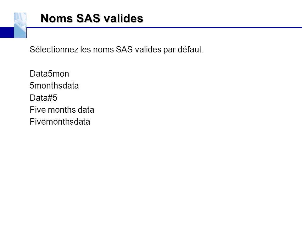 Noms SAS valides Sélectionnez les noms SAS valides par défaut.