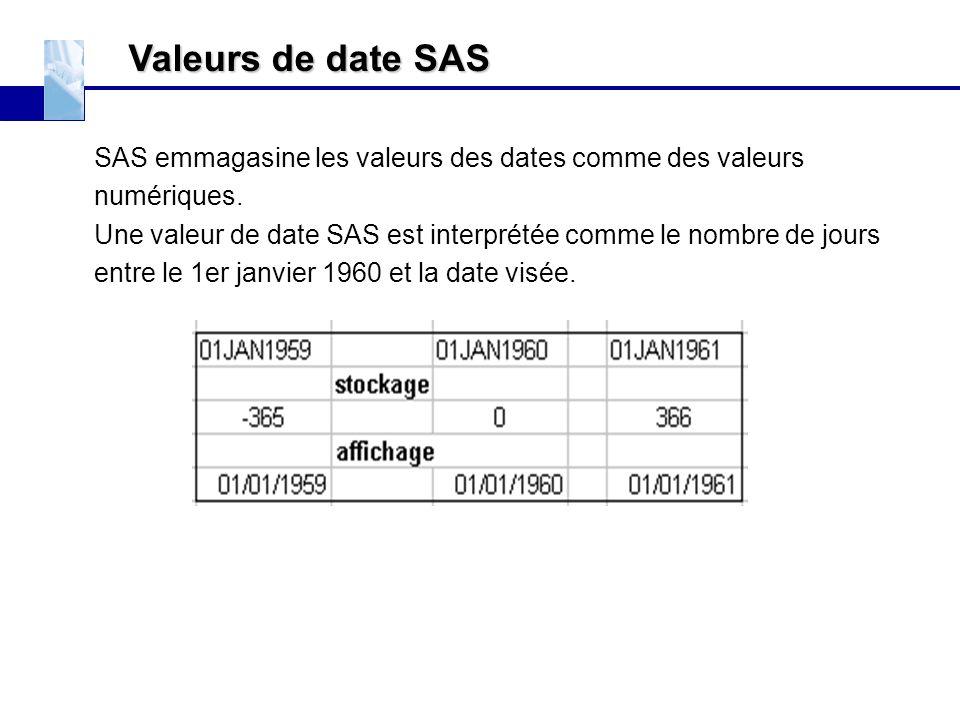 Valeurs de date SAS SAS emmagasine les valeurs des dates comme des valeurs. numériques.