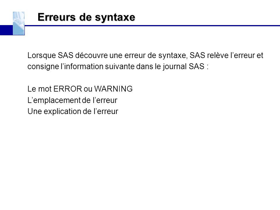 Erreurs de syntaxe EXERCICES