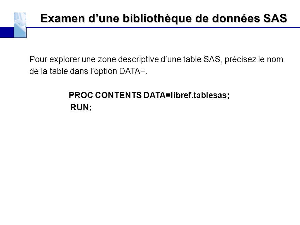 Examen d'une bibliothèque de données SAS