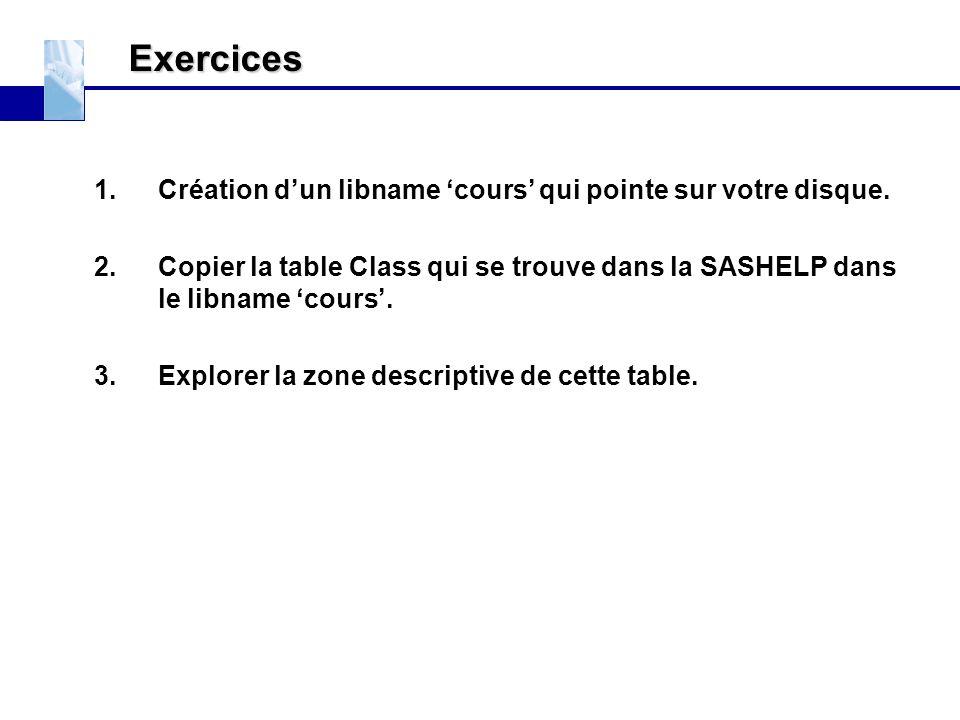 Exercices Création d'un libname 'cours' qui pointe sur votre disque.