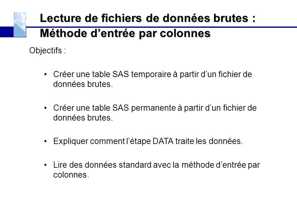 Lecture de fichiers de données brutes : Méthode d'entrée par colonnes