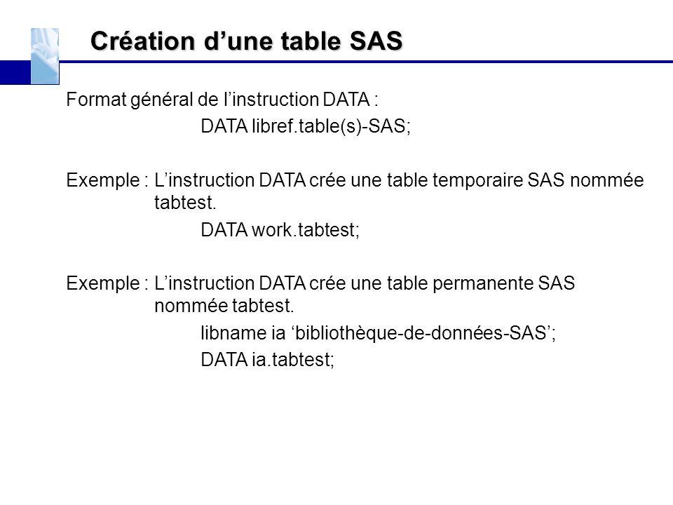 Création d'une table SAS