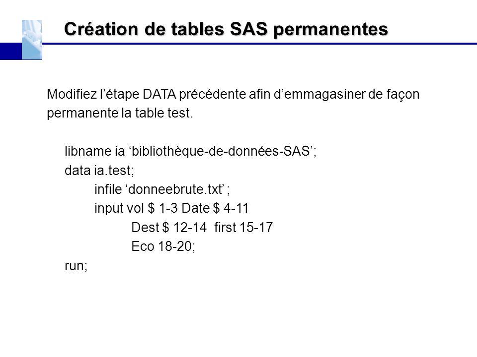 Création de tables SAS permanentes