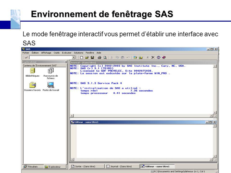 Environnement de fenêtrage SAS