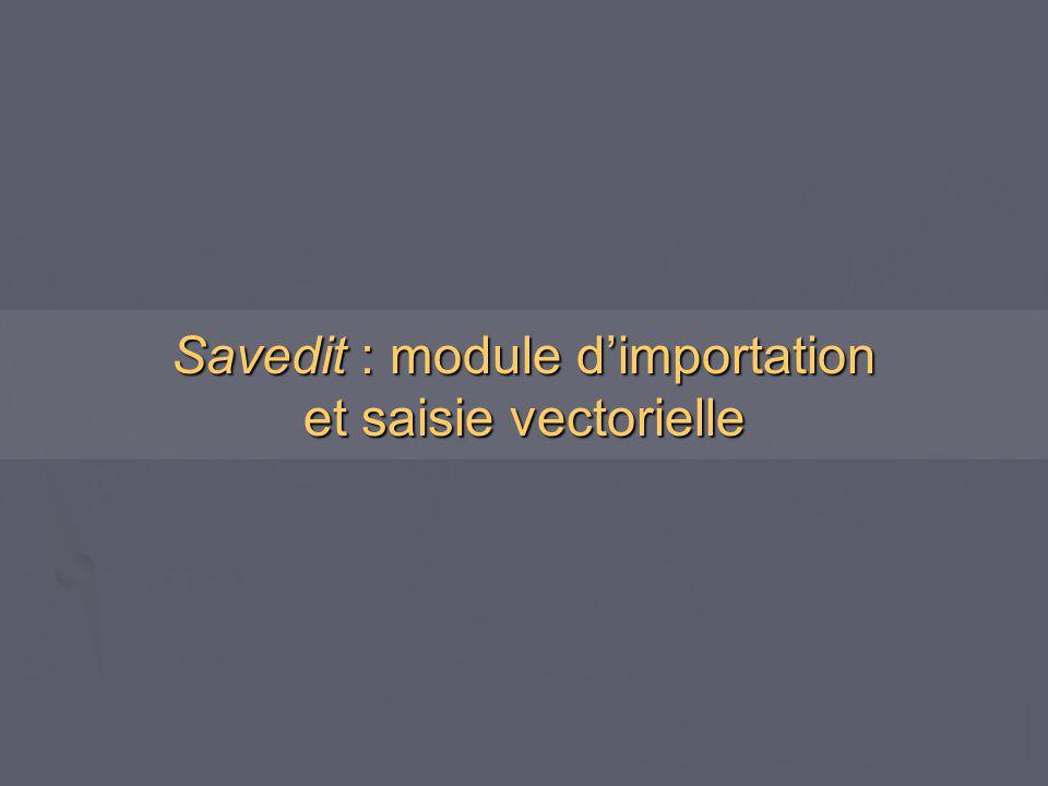 Savedit : module d'importation et saisie vectorielle
