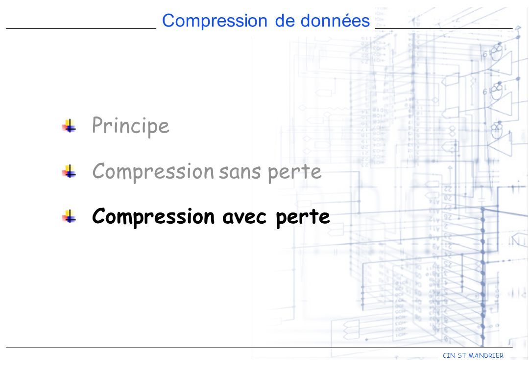 Principe Compression sans perte Compression avec perte