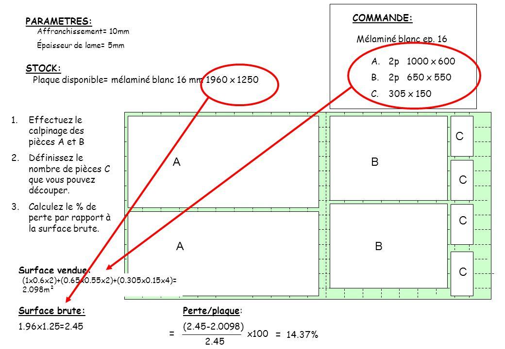 C A B C C A B C = x100 = 14.37% COMMANDE: PARAMETRES: