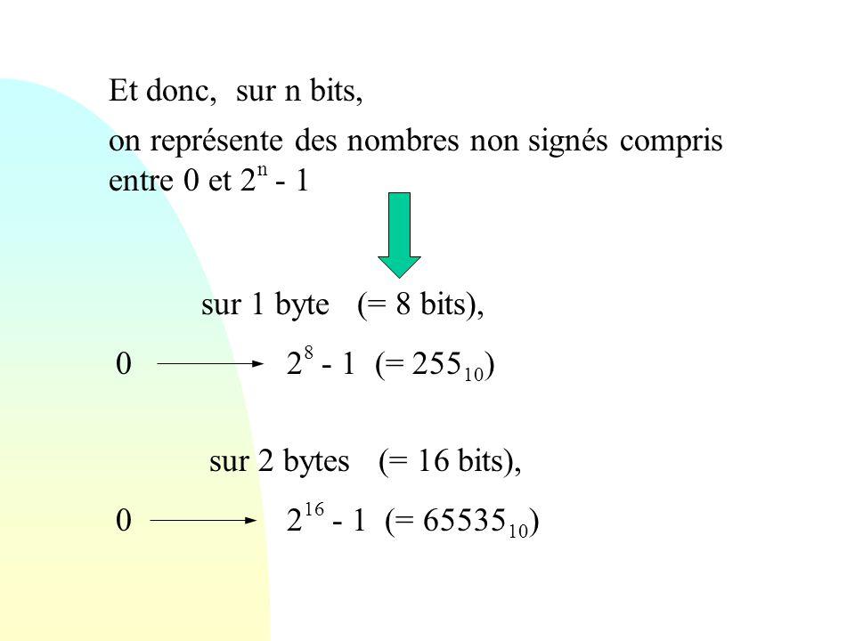 Et donc, sur n bits, on représente des nombres non signés compris entre 0 et 2n - 1. sur 1 byte (= 8 bits),