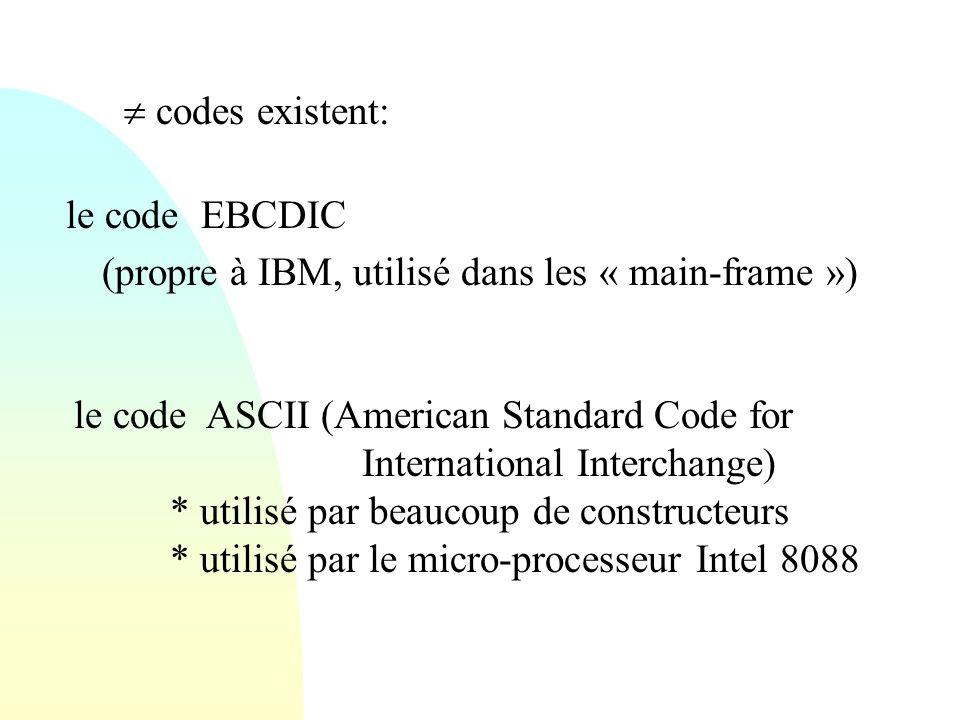  codes existent: le code EBCDIC. (propre à IBM, utilisé dans les « main-frame »)