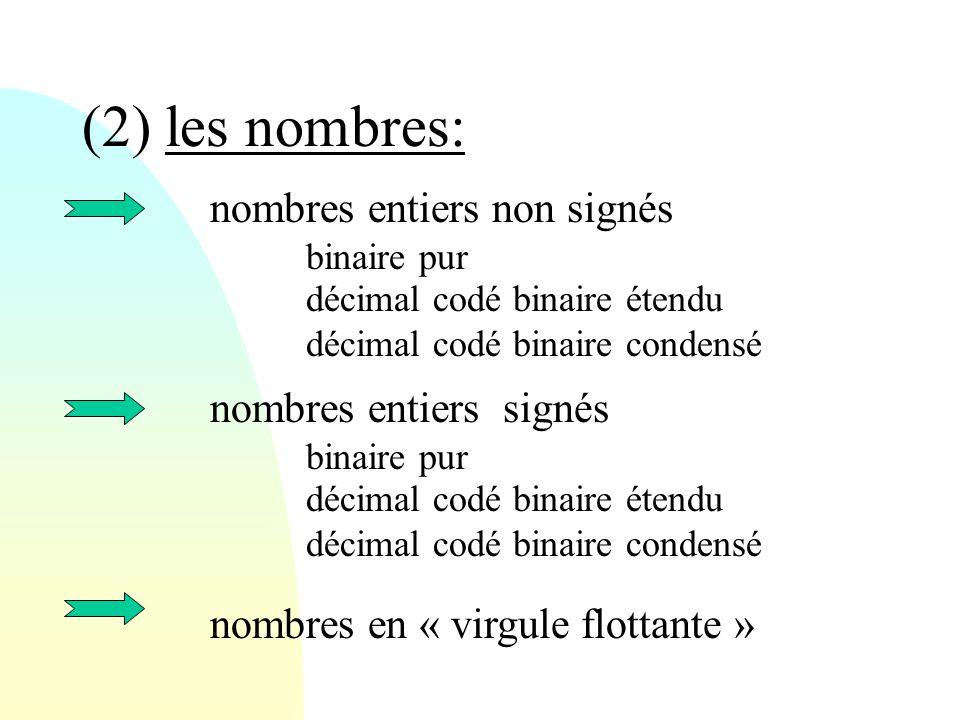 (2) les nombres: nombres entiers non signés binaire pur