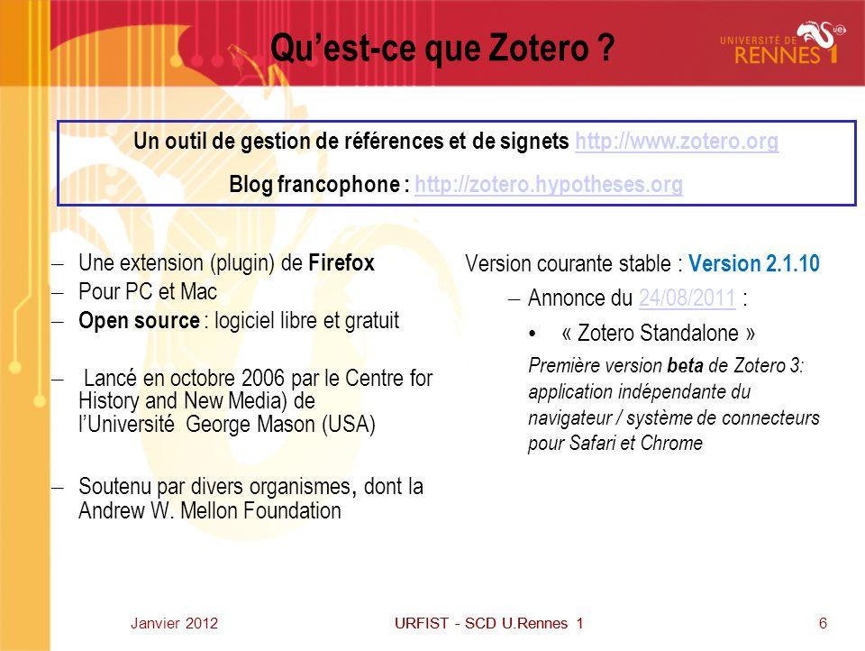 Qu'est-ce que Zotero 07/04/2017. Un outil de gestion de références et de signets http://www.zotero.org.