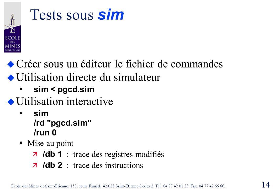 Tests sous sim Créer sous un éditeur le fichier de commandes