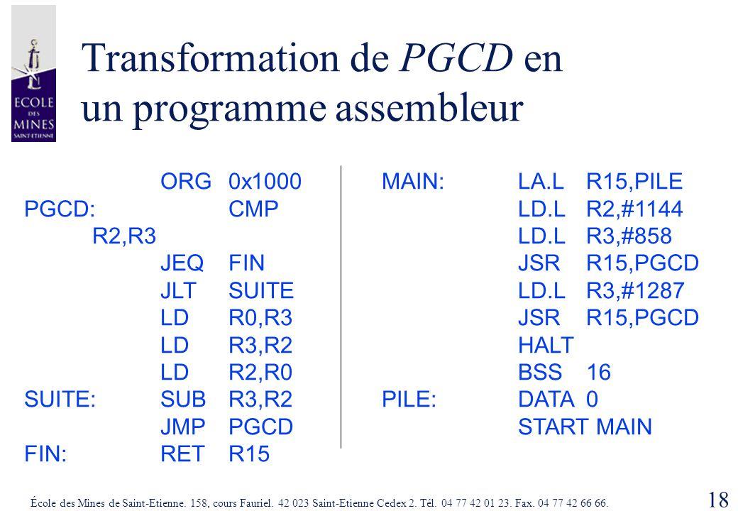 Transformation de PGCD en un programme assembleur