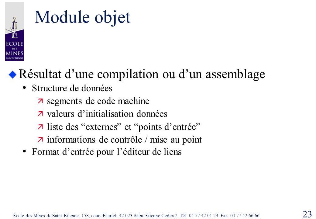 Module objet Résultat d'une compilation ou d'un assemblage