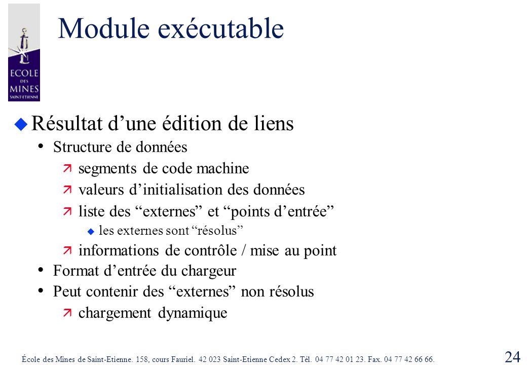 Module exécutable Résultat d'une édition de liens Structure de données