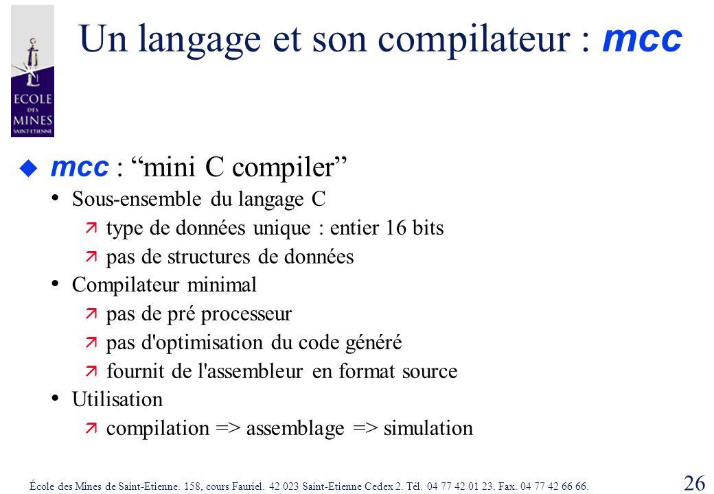 Un langage et son compilateur : mcc