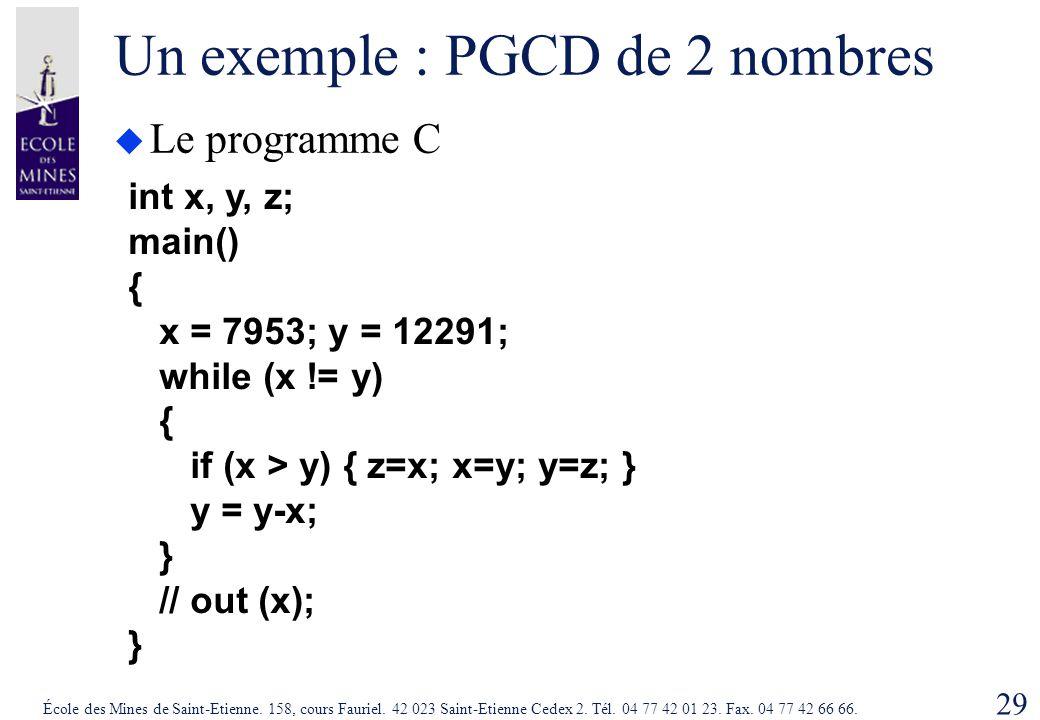 Un exemple : PGCD de 2 nombres