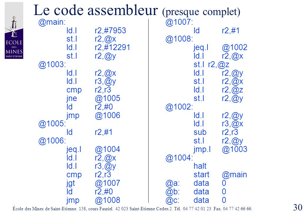 Le code assembleur (presque complet)