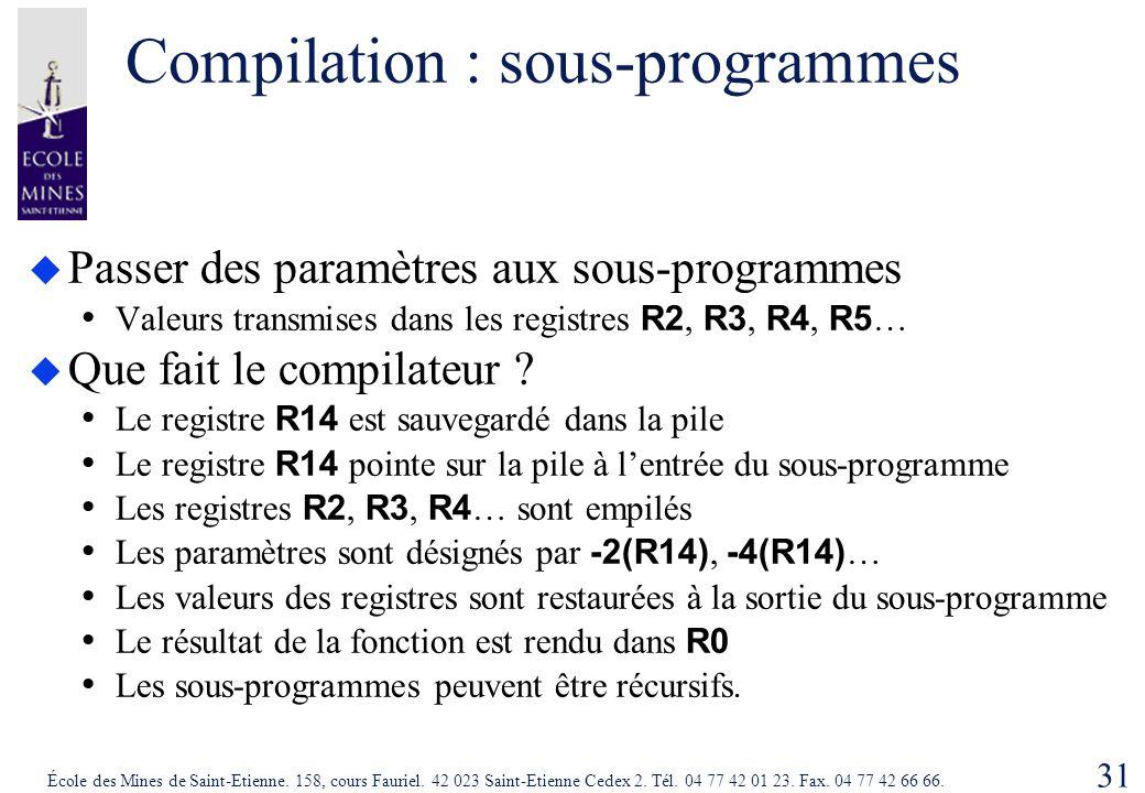 Compilation : sous-programmes