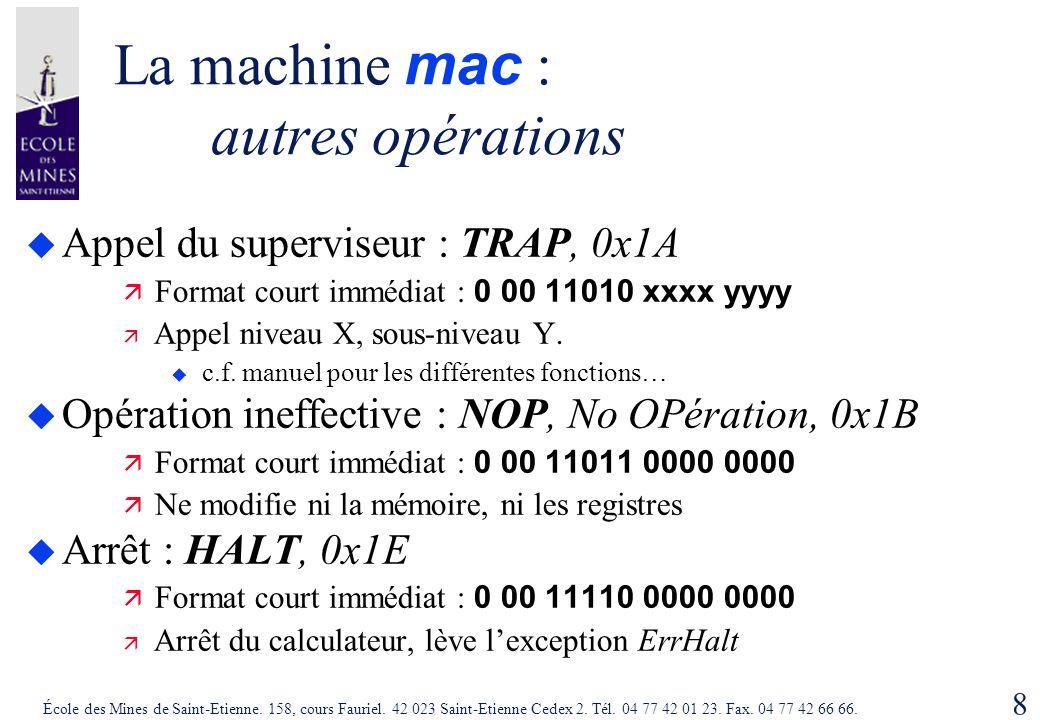 La machine mac : autres opérations