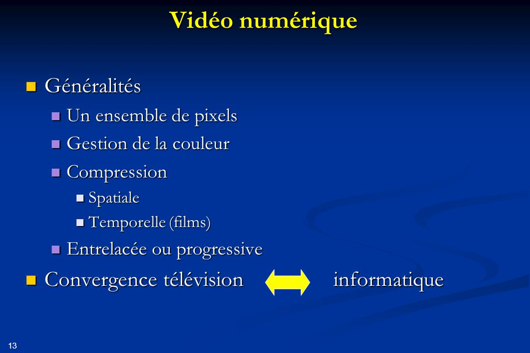 Vidéo numérique Généralités Convergence télévision informatique