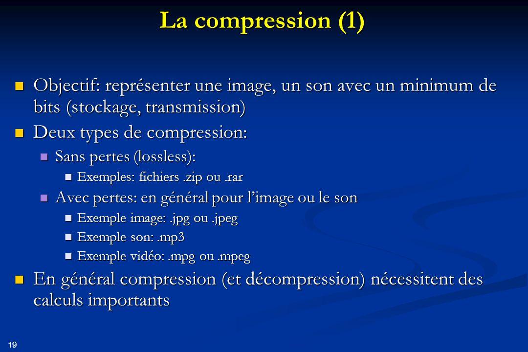 La compression (1) Objectif: représenter une image, un son avec un minimum de bits (stockage, transmission)