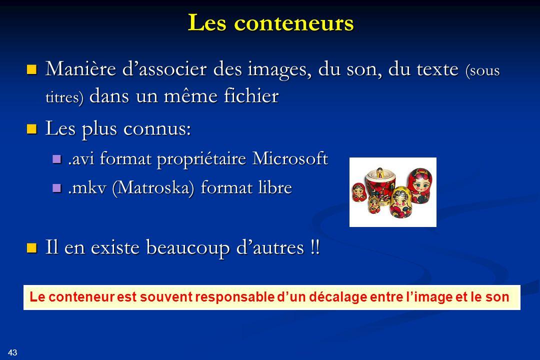 Les conteneurs Manière d'associer des images, du son, du texte (sous titres) dans un même fichier. Les plus connus: