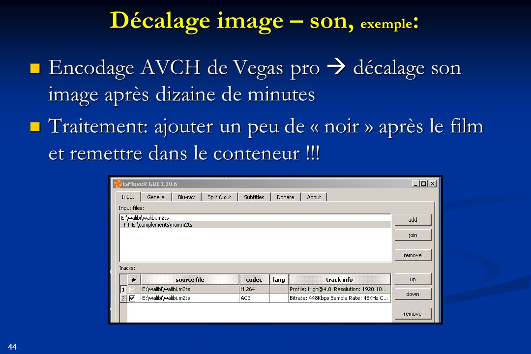 Décalage image – son, exemple: