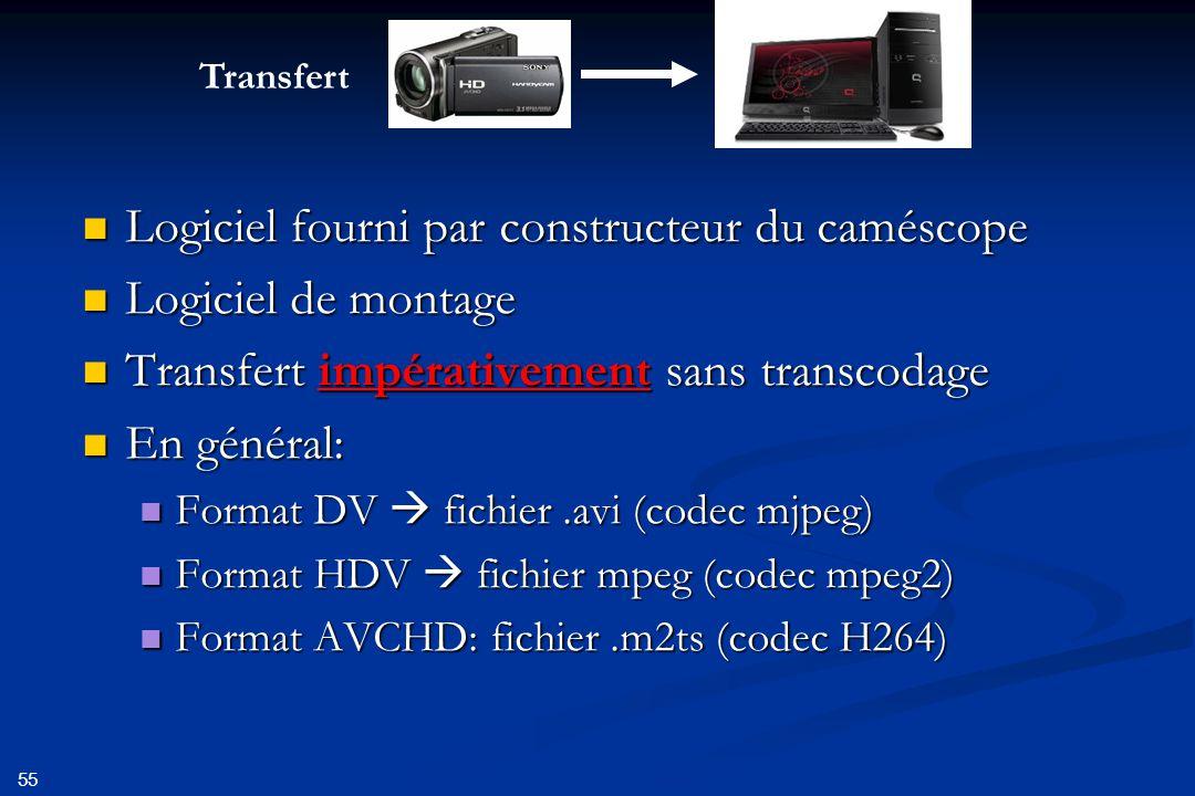 Logiciel fourni par constructeur du caméscope Logiciel de montage