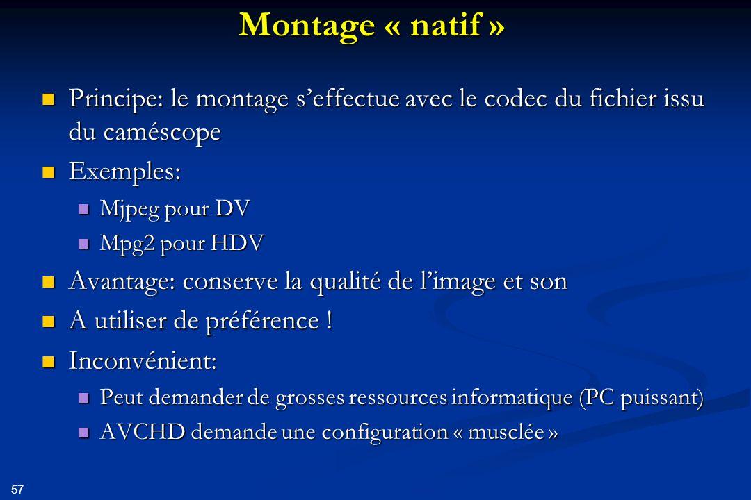 Montage « natif » Principe: le montage s'effectue avec le codec du fichier issu du caméscope. Exemples: